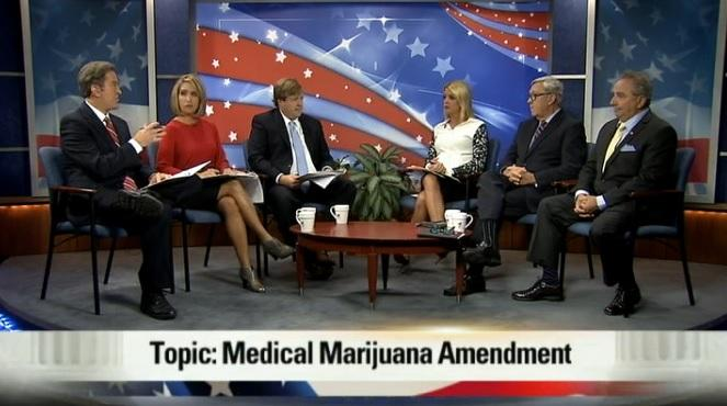 Left to Right: Al Ruechel (Bay News 9), Ybeth Bruzual (News 13) and Adam Smith (Tampa Bay Times) moderate the sole debate between the three candidates for Florida Attorney General: Pam Bondi (R, incumbent), George Sheldon (D) and Bill Wohlsifer (Lib.).