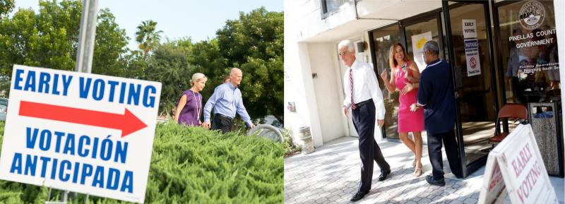 Gov. Rick Scott and his wife early voted in Naples Thursday (left)/Charlie Crist and his wife early voted in St. Petersburg Monday.