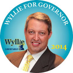 A campaign button for Adrian Wyllie, Florida's Libertarian candidate for Governor