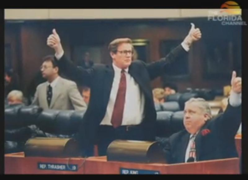 A younger John Thrasher pictured in the Senate's farewell video.  Here, Thrasher is a state representative.