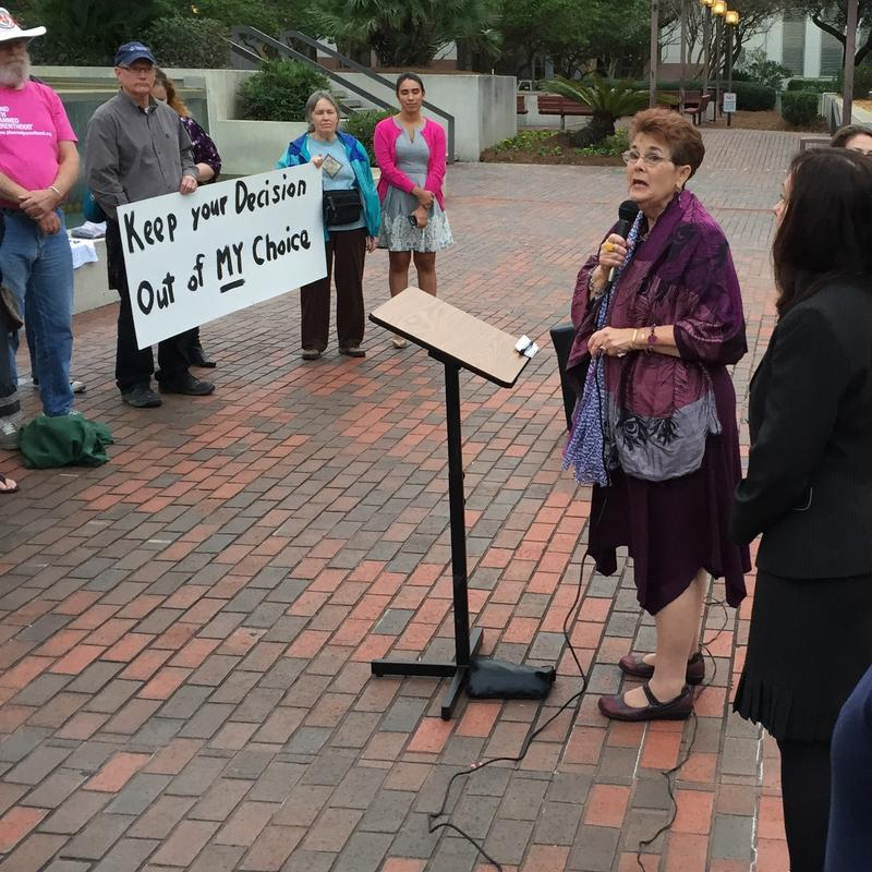 Barbara Devane addressing a Roe v. Wade rally on the Capitol steps.
