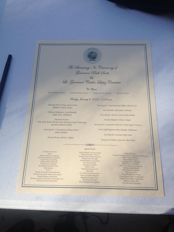 Governor's Inaugural Program