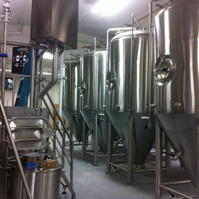 Proof Brewing Company's vats at the Railroad Square brewery.