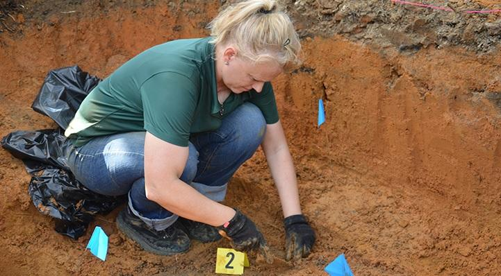 Lead USF researcher Erin Kimmerle at one of the sites on the Dozier School for Boys property.