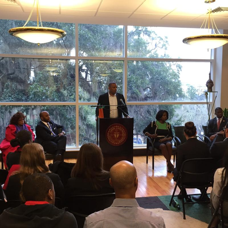 Secretary Foxx speaking at a town hall event on FAMU's campus