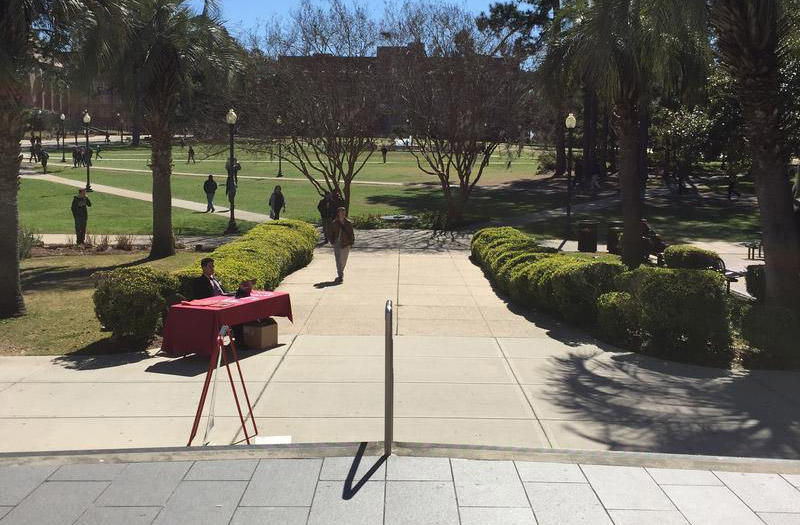 Landis Green from the steps of Strozier Library.
