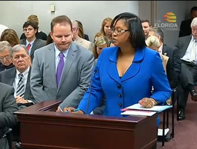 Rep. Travis Cummings (R-Orange Park) and Rep. Mia Jones (D-Jacksonville) demonstrate bi-partisan support of a telemedicine bill.