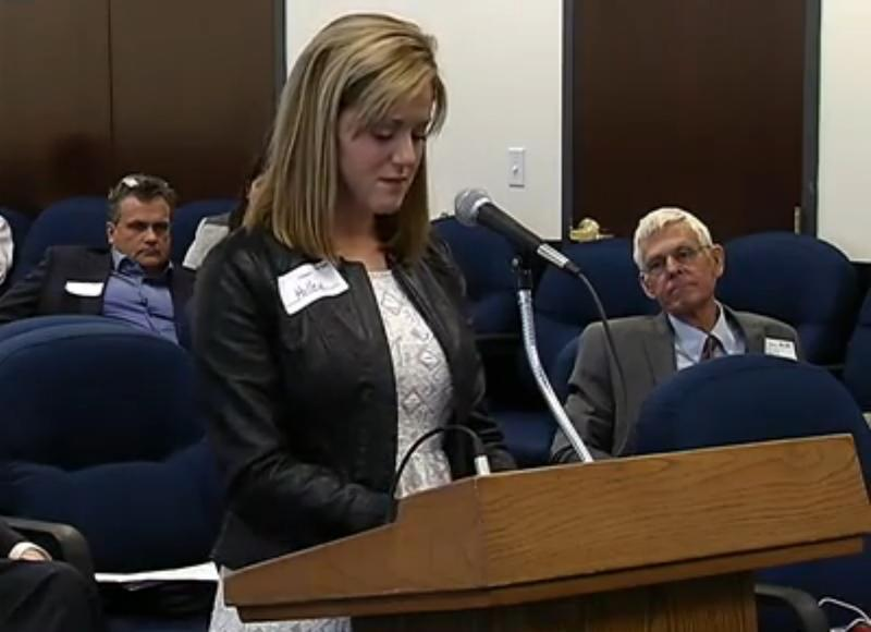 Holley Moseley speaking at the Department of Health's hearing.