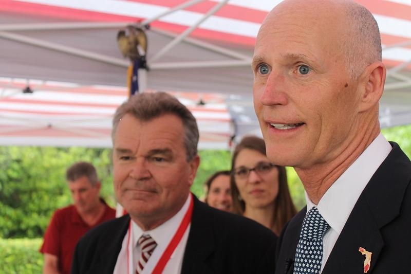 Gov. Rick Scott talks about the Senate's Medicaid expansion plan in Orlando, 4/7/15.