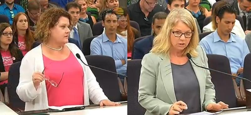 Brooke Hines (left), an opponent of the bill, and Sherri Daume (right), a proponent of the bill, speaking before a Senate committee hearing Wednesday.