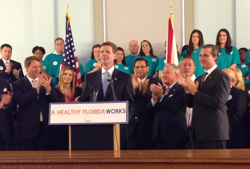 """Senate President Andy Gardiner during a press conference pushing the Senate's """"FHIX"""" proposal--a privatized version of Medicaid expansion."""