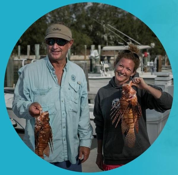 Adolphus Busch IV and his employee Rachel Lynn Bowman are part of a lionfish spearing team. They're this week's Reef Ranger Team of the Week.