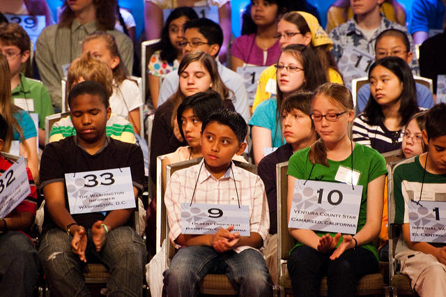 students wait their turn during the national spelling bee
