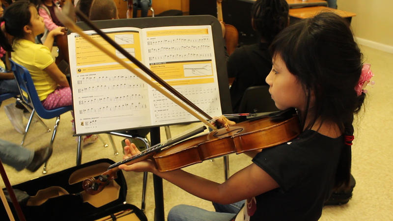 Girl plays a violin