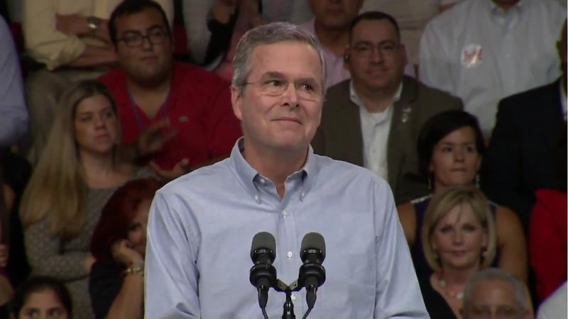 Jeb Bush speaking to supporters at Miami Dade College.
