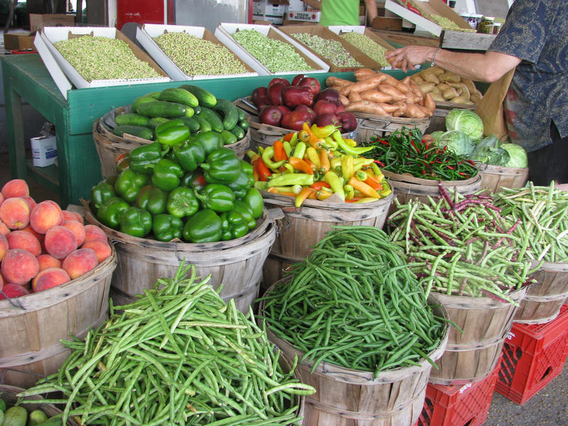 Fruits and Veggies at a farmer's market