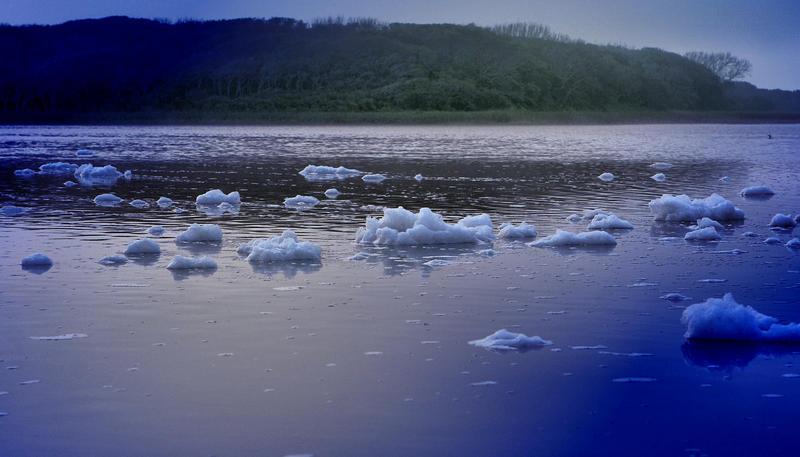 Strange foam looked like icebergs on Lake Guana, in Florida.