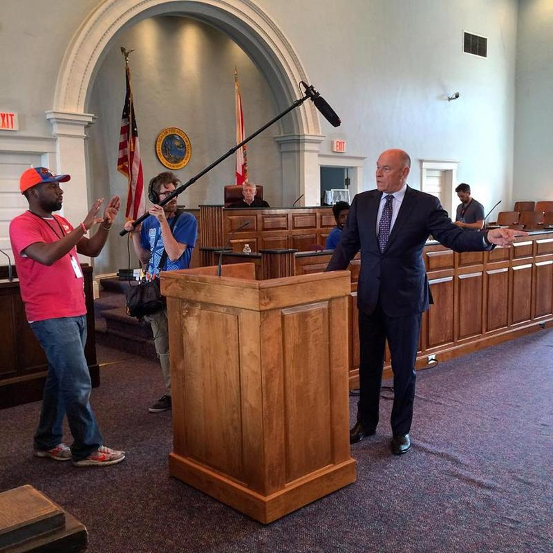 filming a court scene in a court room