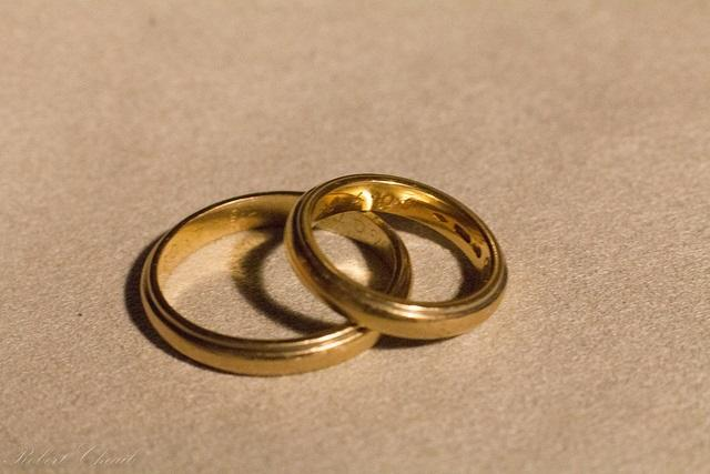 two golden marriage rings