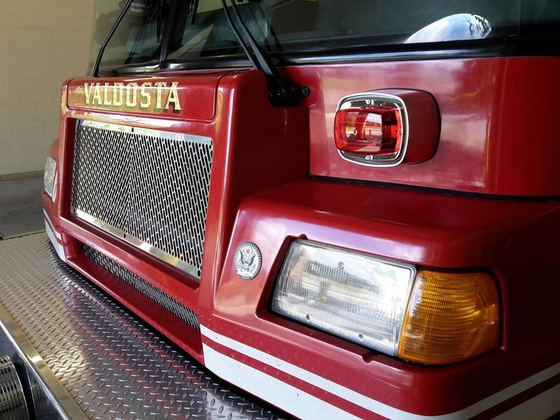 front end of a red fire truck