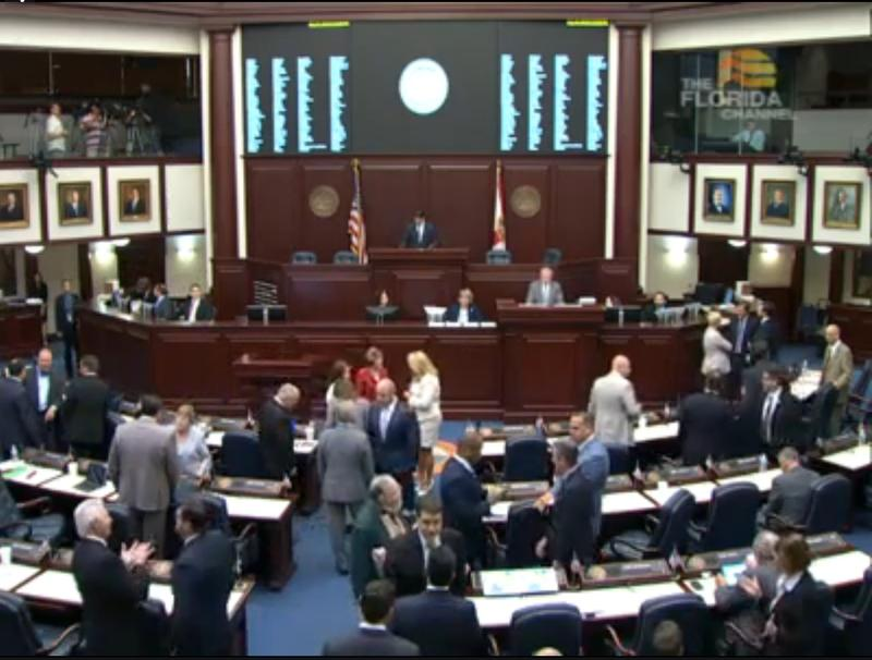 The Florida House preparing to begin its floor session.