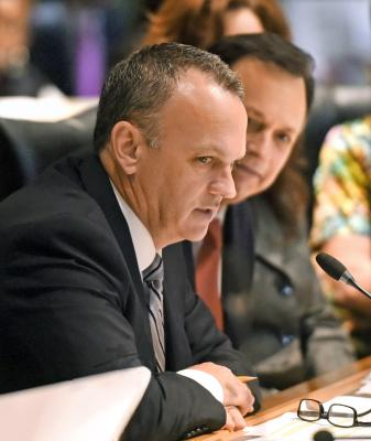 From the left Appropriations Chairs Rep. Richard Corcoran, R-Lutz, and Sen. Tom Lee, R-Brandon, begin the compromise process as full conference committee met June 11, 2015, while finalizing key portions of the state's budget within Criminal and Civil Just