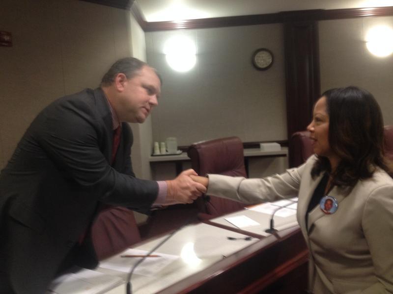 Sen. Rob Bradley (R-Fleming Island) speaks to Lucia McBath, mother of Jordan Davis, following a Tuesday hearing.