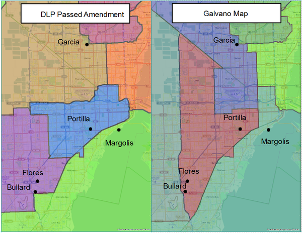 A comparison of Diaz De La Portilla's alterations with the homes of incumbent Florida Senators.