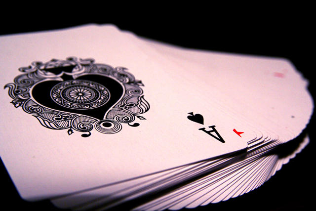 Deck of cards with Ace of Spades on top