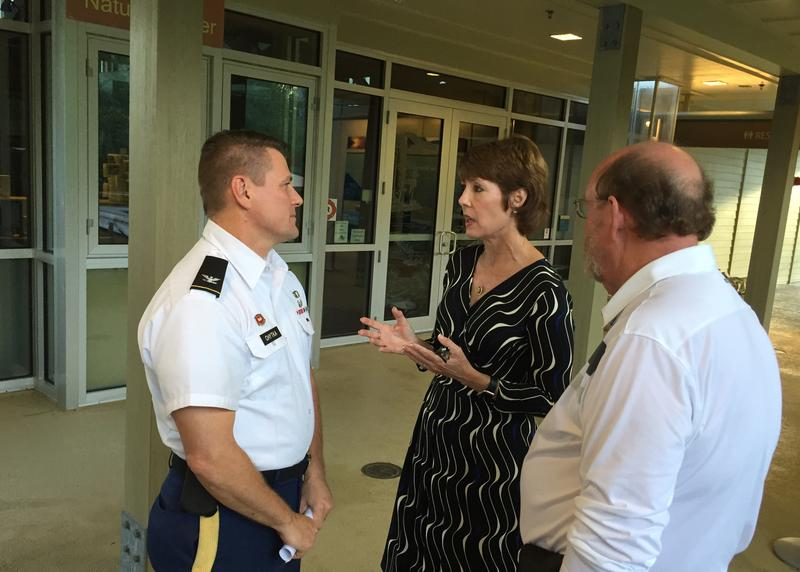 Congresswoman Gwen Graham speaking with Army Corps of Engineers Colonel Jon Chytka.