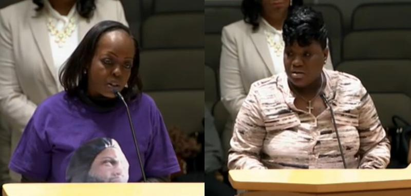Tangela Sears (left) and Tranell Harris (right) are with Miami Dade Parents of Murdered Kids. Both spoke recently to lawmakers about a public records exemption to protect witnesses.