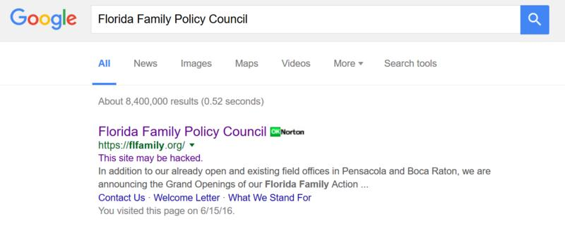A google search for the Florida Family Policy Council says its website has been hacked. President John Stemberger confirms the site has been hacked several times.