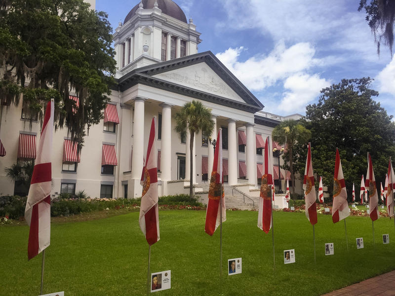 Gov. Rick Scott directed 49 Florida state flags be placed in front of Florida's Historic Capitol for 49 days. The name, age, and photo of each victim are displayed under each flag.