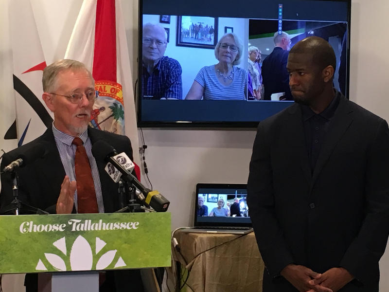 Mayor Andrew Gillum and Choose Tallahassee Board Member Dave Bruns welcome Glenn and Loujean Nelson to Tallahassee via Skype on Wednesday, June 29.