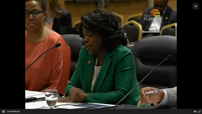 FAMU President Elmira Mangum (green) and Provost Marcella David (orange) address the Florida Board of Governors. (6/22/16)