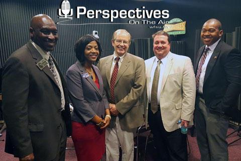 candidates standing with Tom Flanigan in the Perspectives studio
