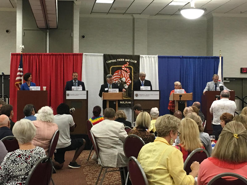 Candidates for Leon County superintendent attend a debate hosted by the Capital Tiger Bay Club. From left to right: Rocky Hanna, Woody Hildebrandt, Jackie Pons, Patricia Sunday, Forest Van Camp