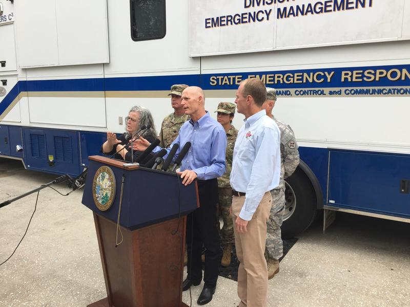 Gov. Rick Scott speaking at the Emergency Operations Center in Tallahassee.