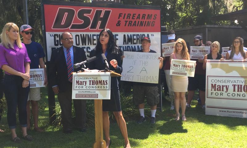 Republican Congressional hopeful Mary Thomas accepting the endorsement of Gun Owners of America in Tallahassee.