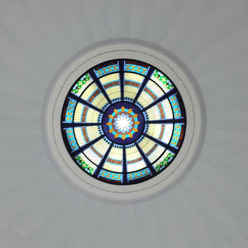 The Senate chambers' stained glass pendant.