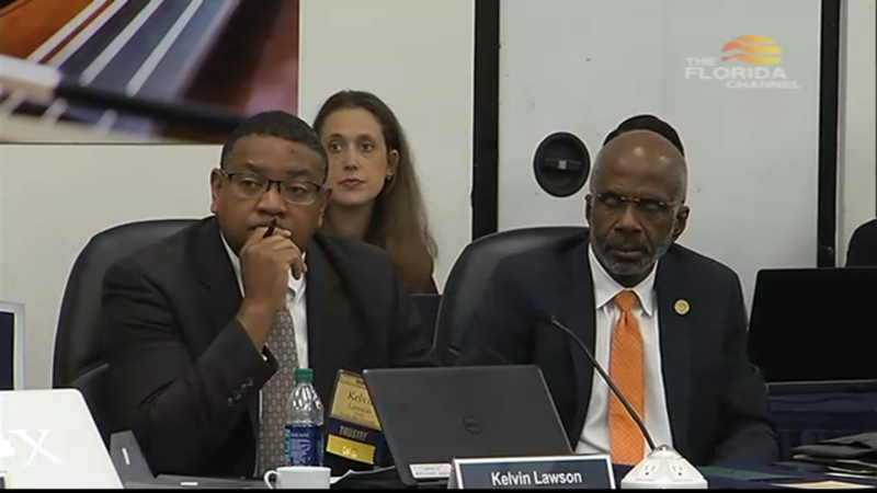 FAMU Board of Trustee Chairman Kelvin Lawson (left) sits with Interim FAMU President Larry Robinson (right) for the Florida Board of Governors confirmation hearing. 11/3/16