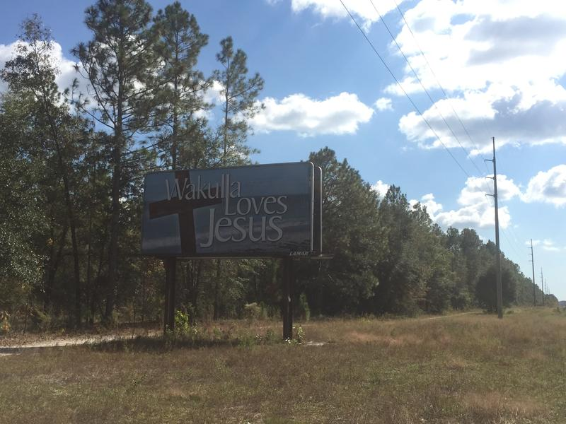 This billboard greets visitors driving into Crawfordville in Wakulla County.