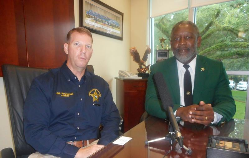 Florida Sheriffs Association (FSA) President and Orange County Sheriff Jerry Demings, and Charlotte County Sheriff Bill Prummell speaking on different topics in Tallahassee.