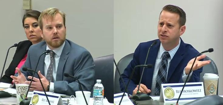 Rep. James Grant, R-Tampa, (left) and Rep. Jared Moskowitz, D-Coral Springs, (right) debate a Stand Your Ground-related bill during the House Criminal Justice Subcommittee Wednesday.