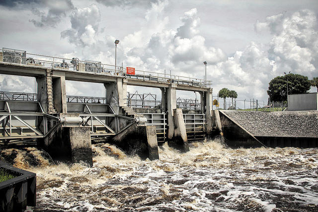 The Army Corp of Engineers releases water from Lake Okeechobee into the Caloosahatchee River because of heavy rains.
