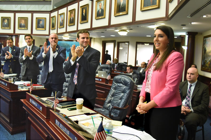 Rep. Sullivan (R-Mount Dora) receiving a standing ovation from fellow Republicans after floor debate for the abortion waiting period law in 2015.