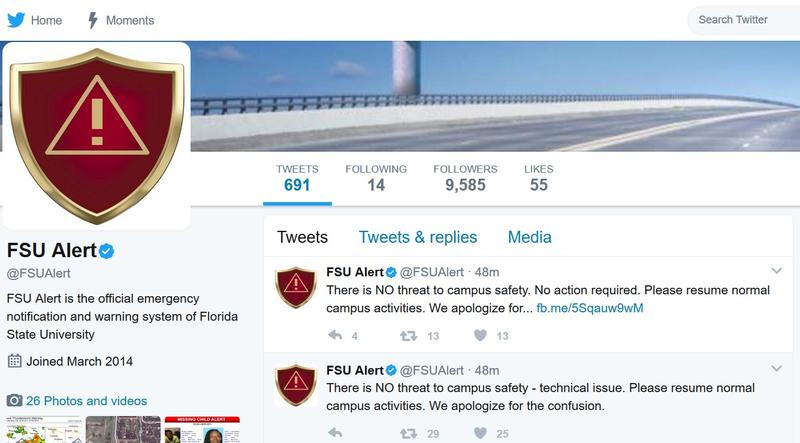 A screenshot of Florida State University's emergency alert page.