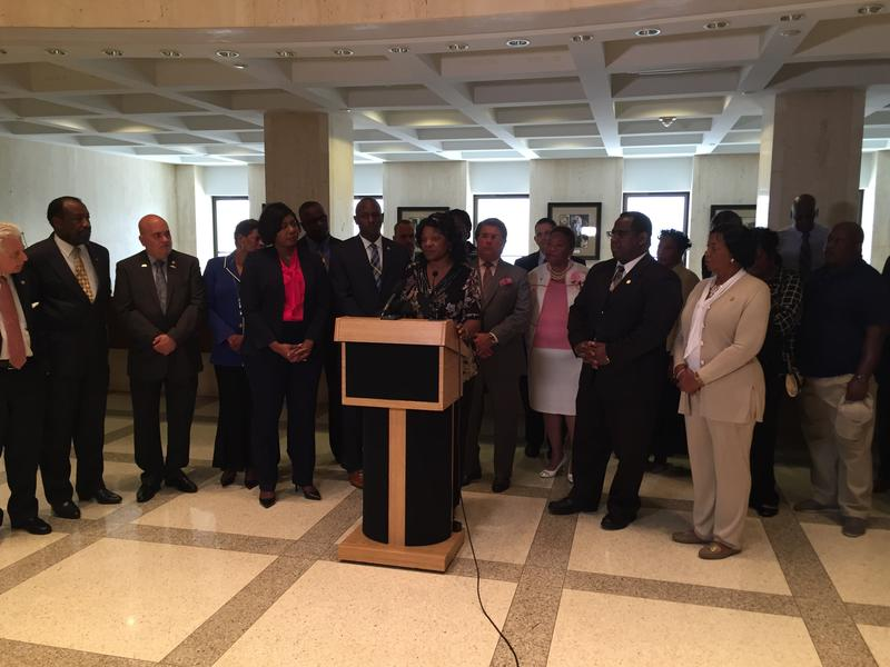 Jeanette Shepherd speaking at the Florida Capitol.