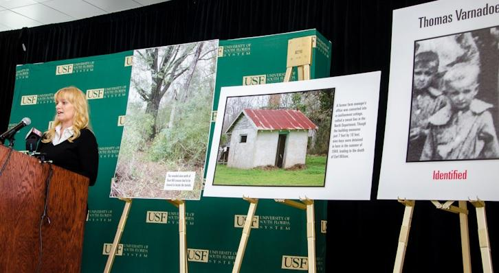 Lead USF Researcher Erin Kimmerle (left) speaking during a Tampa press conference in 2014, announcing the identification of two more remains found on the Dozier School for Boys' property. It included the remains of Thomas Varnadoe (right).