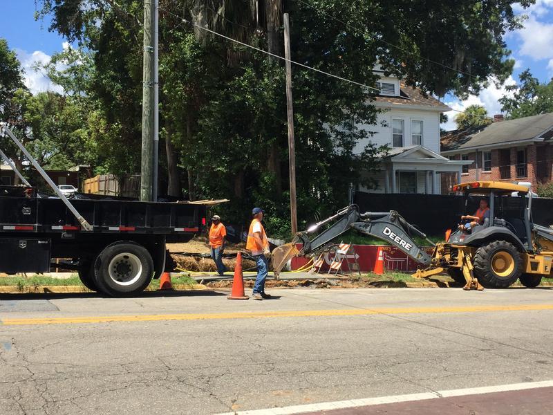 sidewalk work along College Avenue